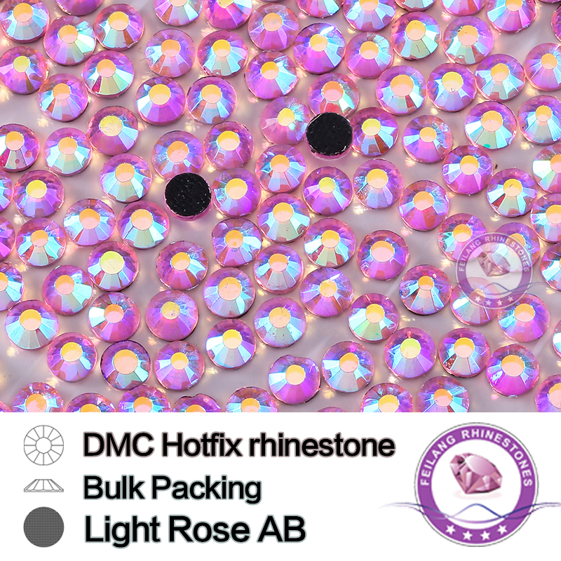 Wholesale SS6 SS30 DMC Hotfix Rhinestones Light Rose AB Flatback Machine Cut Glass Bulk Packing Strass Garment Accessories