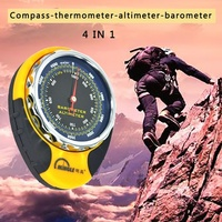 Portable 4in1 Mechanical Compass Barometer Altimeter Elevation Table Thermometer LED Flashlight Mini Compass