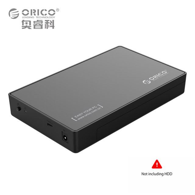 3.5-Inch Hard Drive Enclosure USB 3.1 Gen 1 Type C to SATA External HDD Case Up to 8TB 3.5'' HDD Support UASP (ORICO 3588C3)