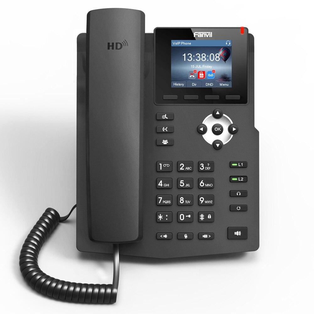 Offre spéciale Fanvil X3SP téléphone IP industrie téléphone de bureau intelligent 2 lignes SIP voix HD POE compatible double-fonctionnel support arrière