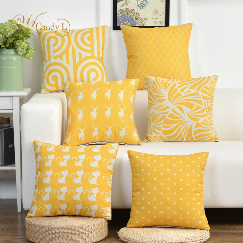 WL Candy L Nordic Style Yellow Cushion Cover Animal Printed Throw Waist Pillow Cover Home Sofa Car Decor cojines Decorativos