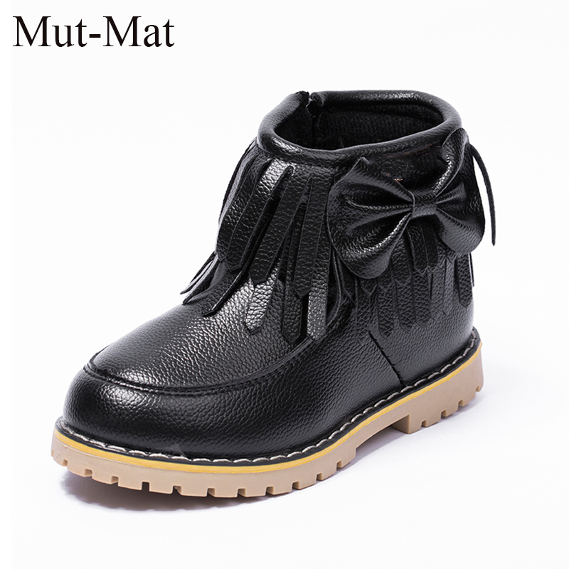 2018 new winter children 's shoes girls' cotton fashion bow tie boots princess snow plus velvet boots size 21 to 36 все цены