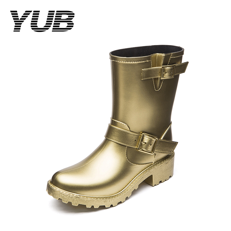 YUB Brand Lady's Winter Rain Boots with Rivet PVC Waterproof Mid-Calf Women Motorcycle Boots 8 Colors Rubber Shoes Size 6-10 yub brand waterproof rain boots for women with solid color slip on winter mid calf shoes for girls