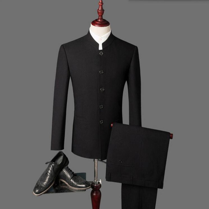 New 2018 arrival Mens suits Black latest coat pant designs mandarin collar men suits wedding groom wedding suits (Jacket+Pants)