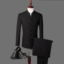 New arrival Men's suits Black latest coat pant designs mandarin collar men suits wedding groom wedding suits (Jacket+Pants)