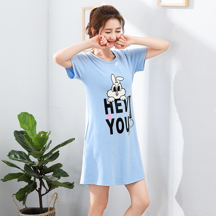 2018 Summer Cute Women Sleepwear Cotton Dress Big Yards M-XXXL Nightgowns Home Wear Girls Sleep Lounge Nightgrowns Home Clothing ...
