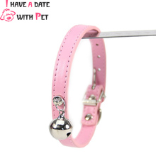 (1 piece / lot )  12 Colors Bell Dog Collar Diamante Pet Collars Pu Leather Puppy collar S