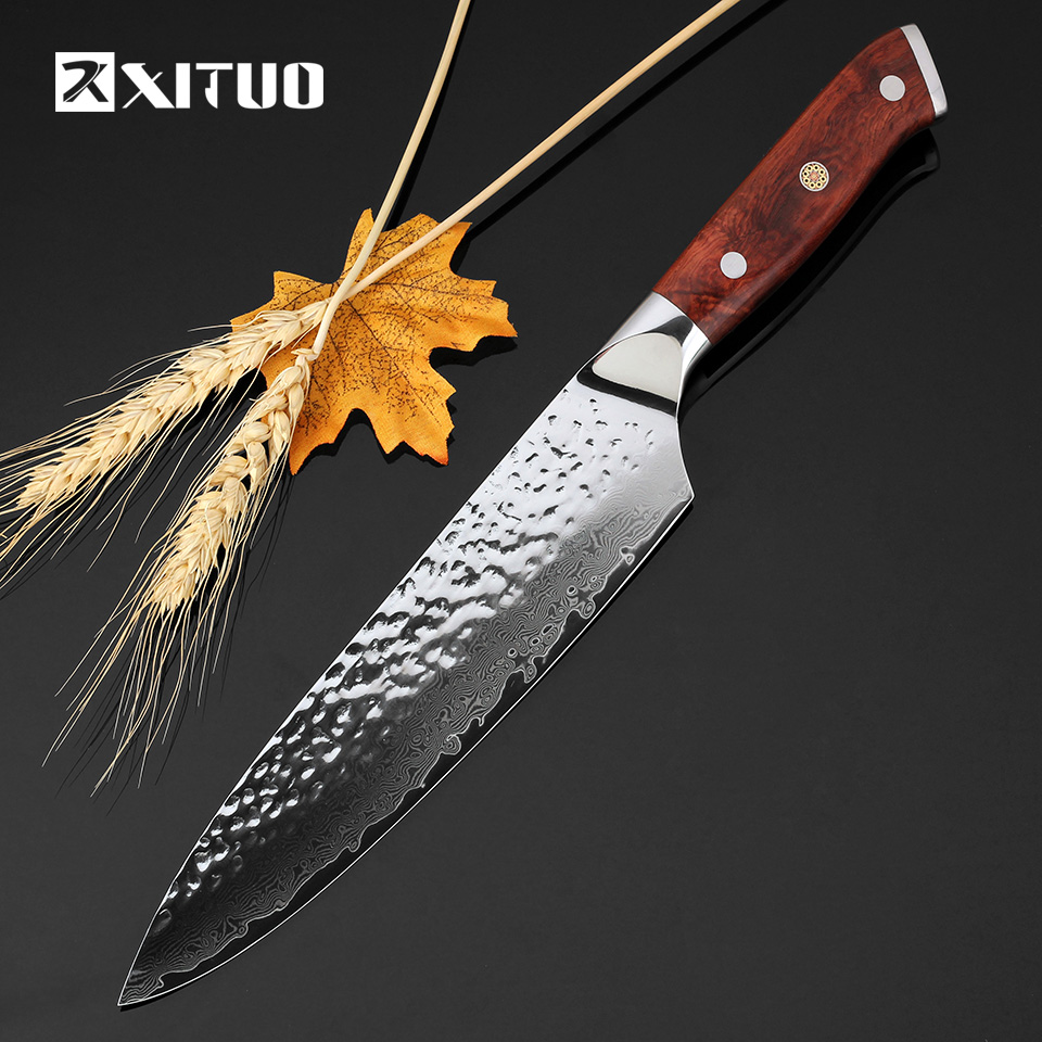 XITUO 8inch japanese kitchen knives 67 layers japan damascus vg10 chef knife Utility Meat Vegetable Multi Cleaver cooking tools