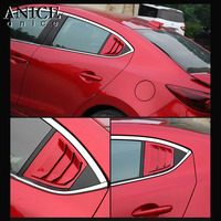 2PC SHINY RED Rear Quarter Panel Window Side Louvers Vent TRIM FIT FOR MAZDA 3 Axela 4D 2014 2018 sedan hatchback Baking varnish