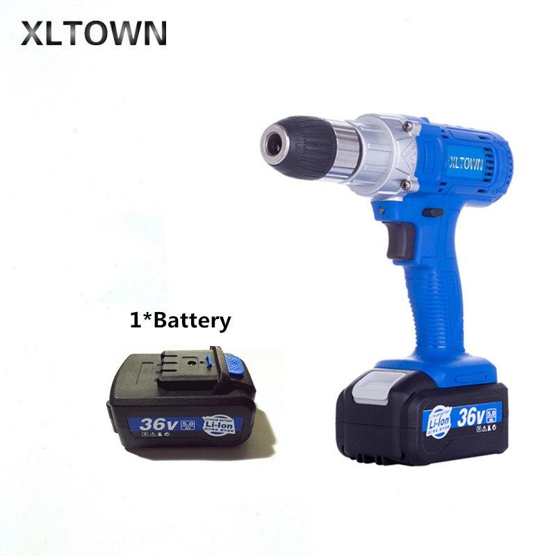 Xltown 36 В в высокая скорость перезаряжаемая литиевая электрическая дрель мульти функция высокой мощности электрическая отвертка электроинс