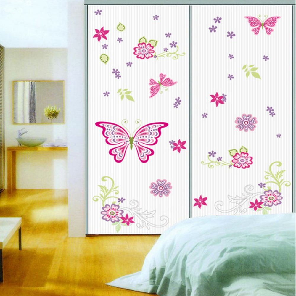PVC Waterproof Butterfly And Flower Wall Stickers Home