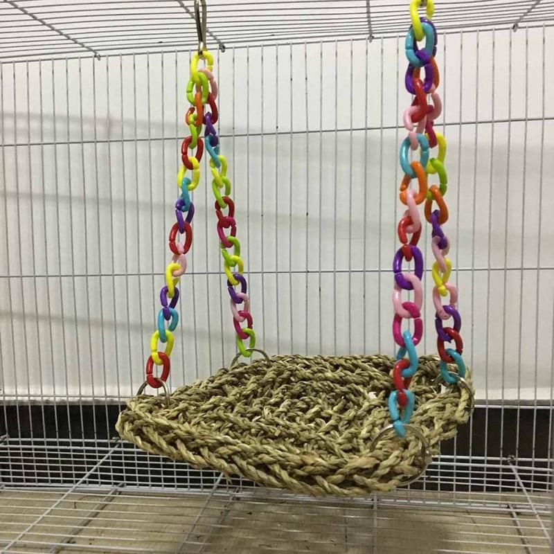 Pet Toys Parrot Swing Hammock Toy Straw Perch Platform Hanging Parrot Bird Chew Toy Bird Toy Supplies