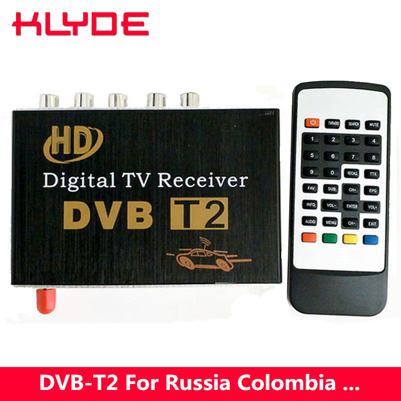 DVB-T2 H.264 MPEG-4 MPEG-2 Car Digital TV Receiver Box For Russia Thailand Ukraine Thailand Colombia Israel Support 40-60km/h 2016 hd h 264 mpeg 4 real video car digital tv receiver box with dual antenna support high speed over 160km hour