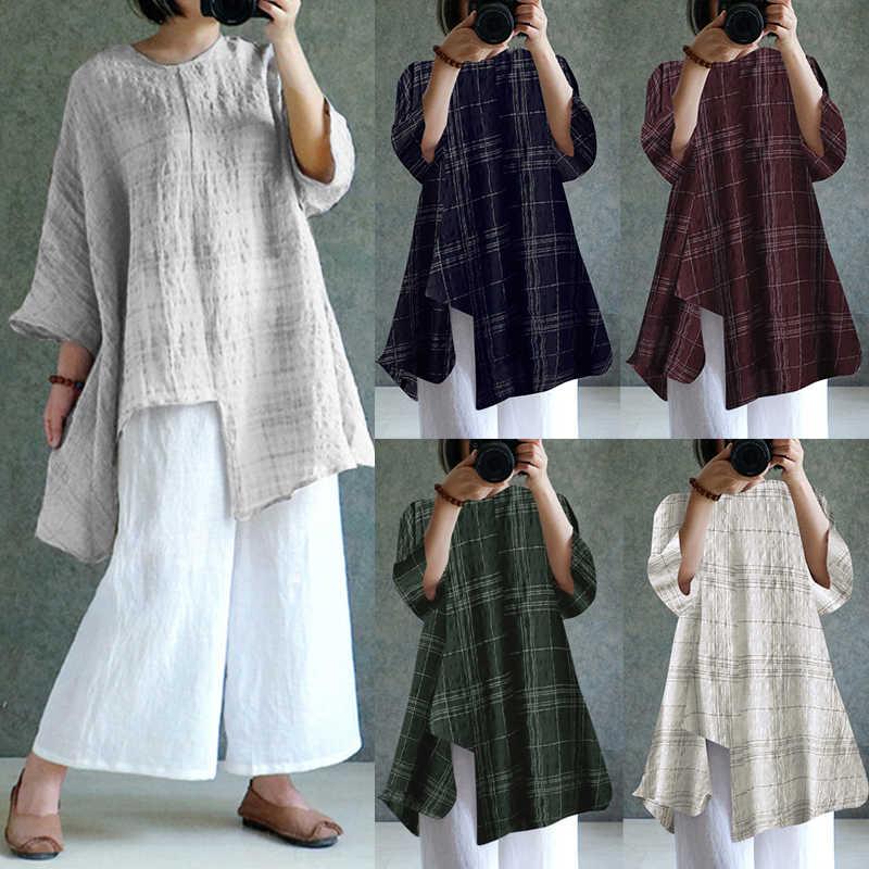 e74ad5349270c ... ZANZEA Plus Size Women Blouses Vintage Linen Tops 2019 Summer Long  Sleeve Loose Casual Shirt Retro ...