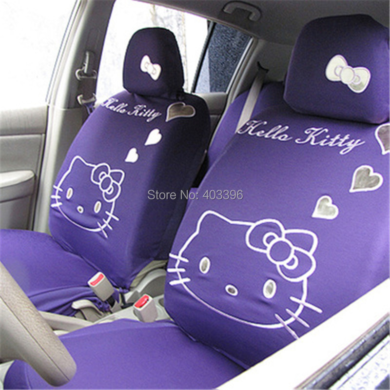 High Quality New Cute 10 PCs Hello Kitty UNIVERSAL Pink Car Seat Covers Accessories For Woman Girl In Automobiles From