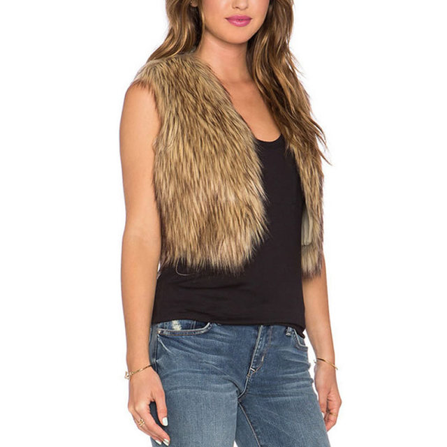2016 New Women Faux Fur Vests Women winter coats jackets Waistcoat Gilet Ladies Long Sleeveless Plus Size Veste Vintage coffee