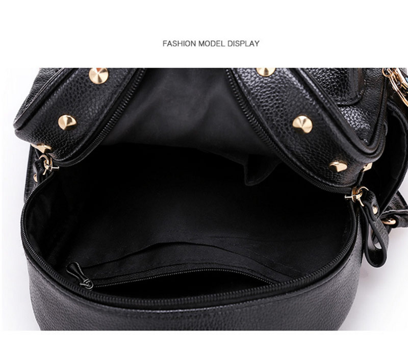 2019 Women Preppy Style Panelled Color Print Backpack Black Studded PU Faux Leather School Bag Small Fashion Rivet Travel Pack (12)
