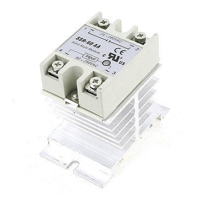 AC80-250V to AC24-380V 60A 4 Screw Terminal 1 Phase Solid State Relay w Heatsink high quality ac ac 80 250v 24 380v 60a 4 screw terminal 1 phase solid state relay w heatsink