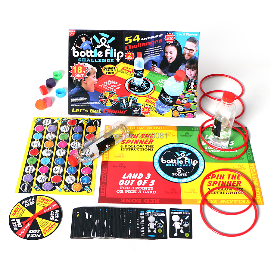 Faithful Playing Bottle Flip Family Challenge Funny Game,let's Get Glippin' 54 Awesome Challenges For 2-6players Party Board Game Toy Convenience Goods