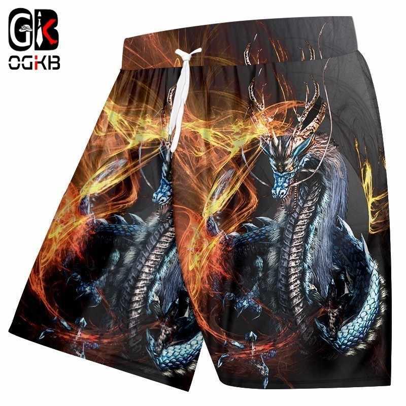 OGKB Nieuwe Harajuku Mens Cool Print Fire Dragon 3D Board Beach Shorts Man Bodybuilding Fitness Casual Shorts Elastische Taille Tourser