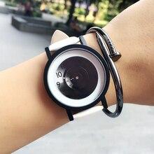 Mode Platine Creative Montres concept BGG Simple Unisexe Montre-Bracelet À Quartz Montre Hommes Femmes Étudiant Noir Blanc Horloge relogio