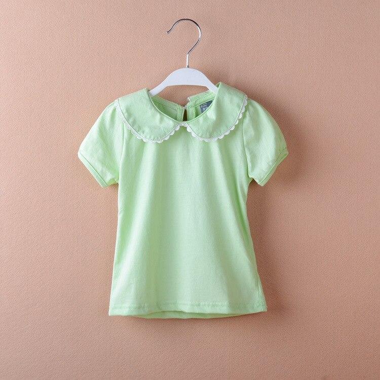 körpə qız t-shirt pambıq qısa kol T-shirt peter pan yaxası alt - Uşaq geyimləri - Fotoqrafiya 3