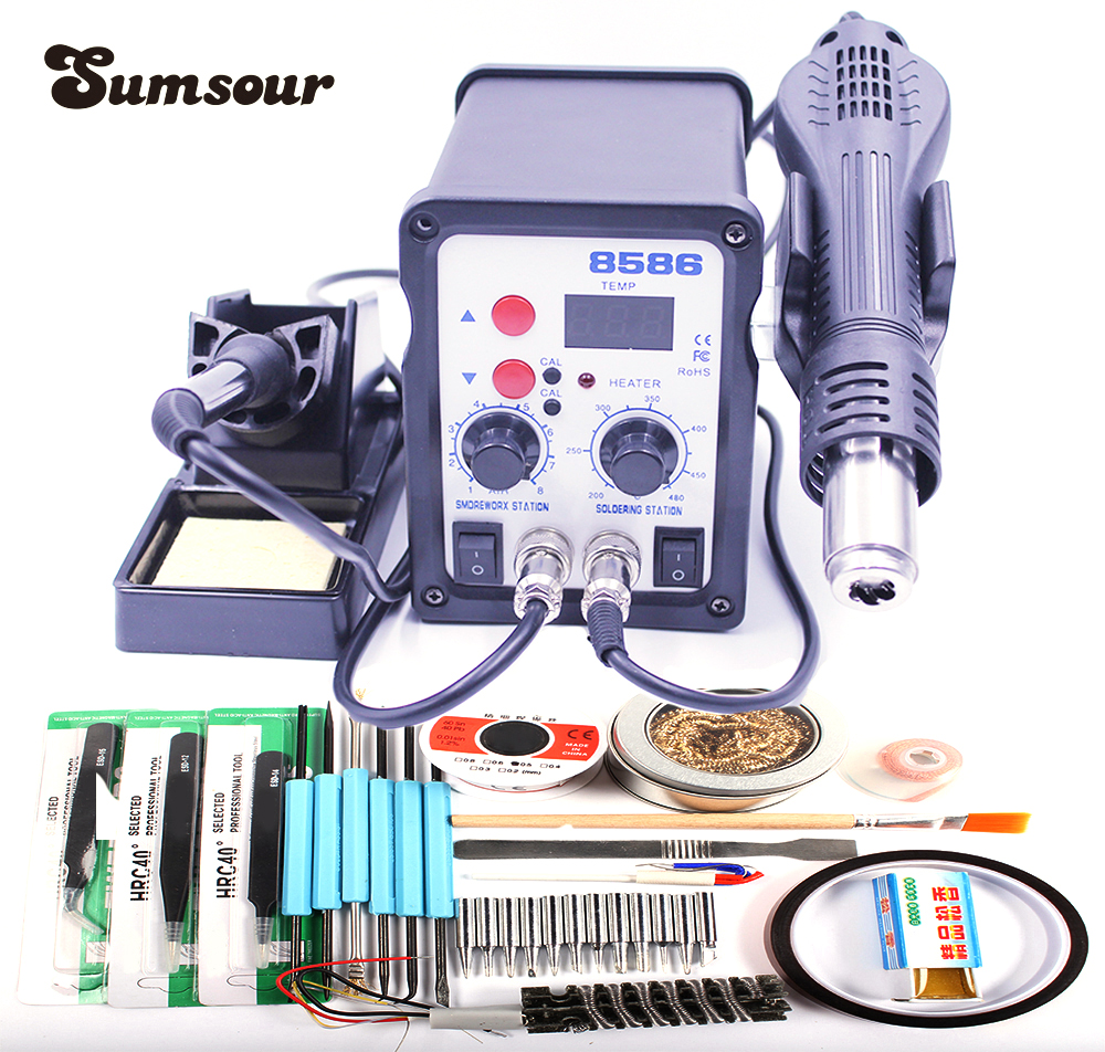 8586 Solder Rework Station 110v 220v 2 In 1 Hot Air Heat Gun How To Decipher The Wiring Schematic Of A 110220v Soldering Iron Smd Equipment Welding Repair Machine With Gifts Electric Irons