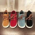 2016 Crianças Inverno Sapatos Meninos Meninas Botas de Moda Rendas Até Faux Couro Meninos Meninas Sapatos Casuais Sapatos de Algodão Quente Crianças Sneakers