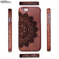 Monila Luxury Vintage Retro Mandala Real Handmade Bamboo Wood Case For Iphone 5 5S SE 6 6S 6 Plus 6S Plus Wood Carving Case