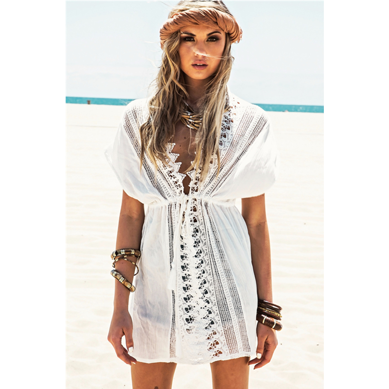 Casual Nice White Short Sleeve V Neck With Lace Beachwear Elegant Kaftan Dress Bright Beach Dressl38262 In Dresses From Women S Clothing Accessories