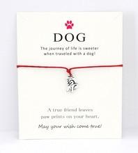 Dog Paw Love Animal Antique Silver Charm Card Bracelets Aqua Red Wax Cord Women Men Girl Boy Jewelry Gift Many Styles to Choose