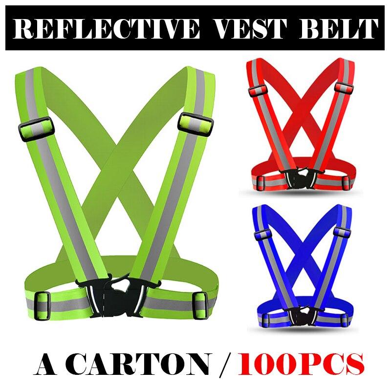 Un carton de 100 pièces réfléchissant gilet de sécurité ceinture sécurité bandes réfléchissantes gilet ceinture pour la marche en plein air course jogging