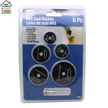 6pc Black HSS Circular Saw blades Set Fit Wood Aluminum Metal Cutting Disc Cut off for Dremel Rotary Tools Accessories