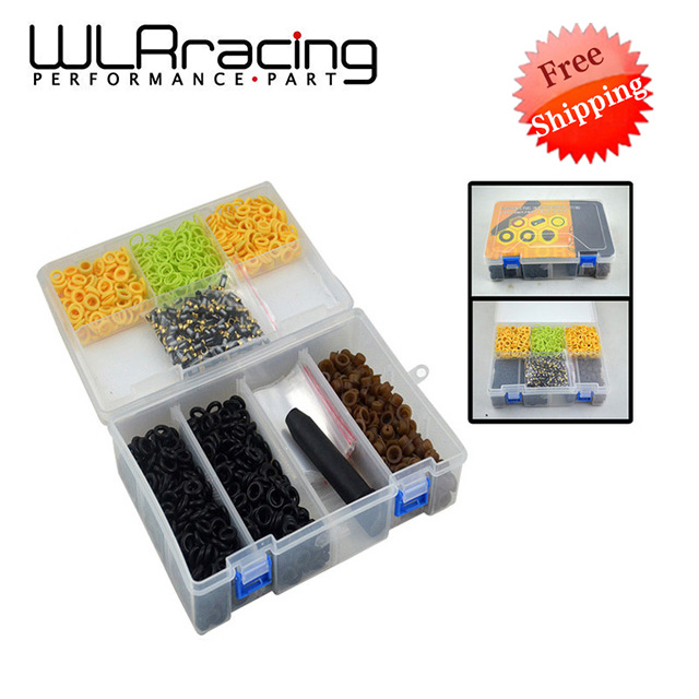 WLR RACING - FREE SHIPPING Universal type fuel injector repair kits ,200sets/box WLR4489 200sets high quality universal type fuel injector filter repair service kits fuel injector basket filter seal printle cap spacer