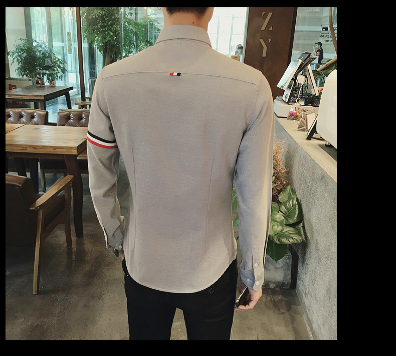 2017 New autumn men's casual tops brand shirt striped Strip decorate cotton men fashion solid color long sleeved Shirts M-XXXL 89