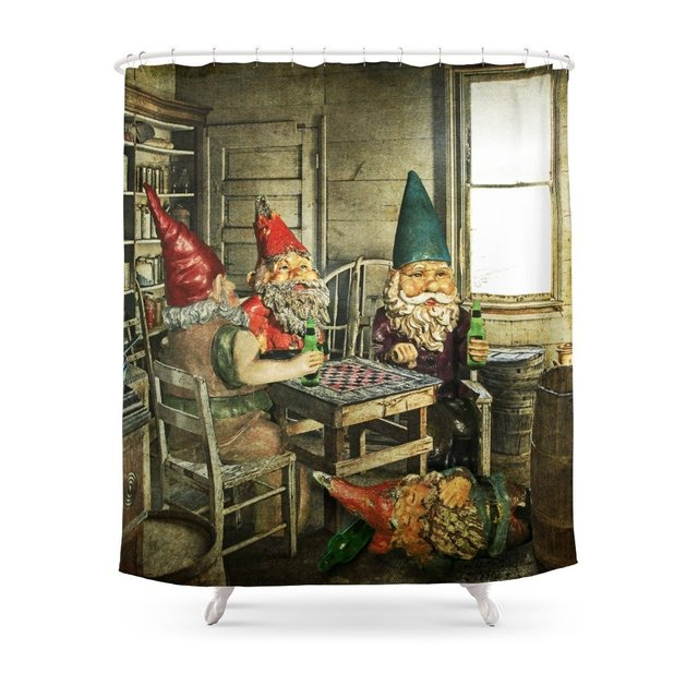 Garden Gnomes Playing Checkers Shower Curtain Waterproof Polyester Fabric Bathroom Decor Multi Size Printed