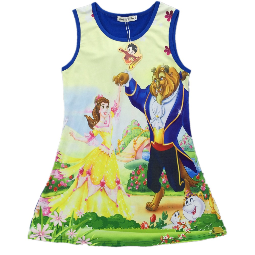 2017 Summer New Cartoon Vest Girl Dress Beauty and the Beast Baby Girl Princess Dress Children Clothes Kids Party Costume Gown free shipping 2016 summer kids girl dress princess dresses cartoon the black cat costume children toddler clothes top sale
