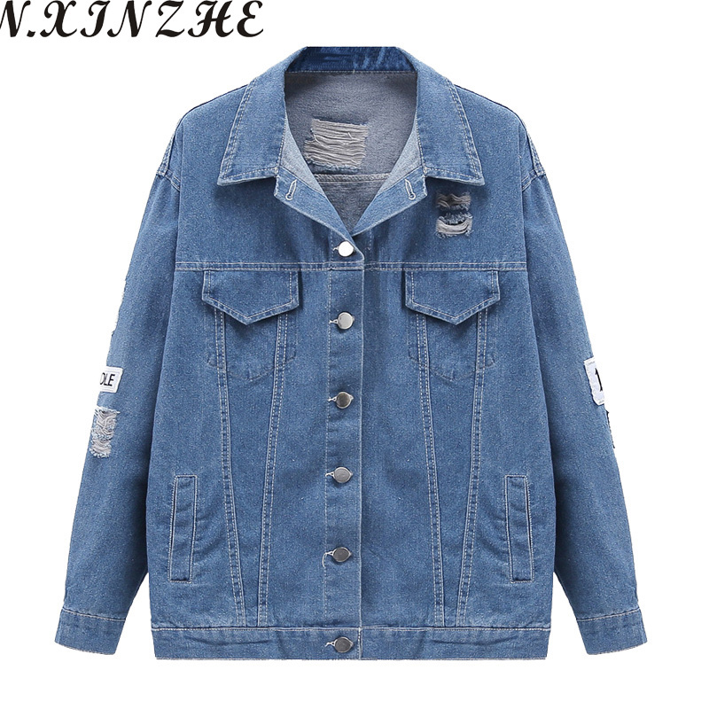 N.XINZHE Fashion Appliques women Demin jackets long sleeve Casual Loose Embroidered jeans coat jacket Streetwear