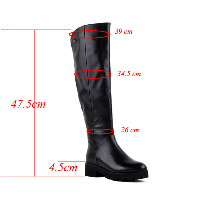 Bacia High Quality Women Classic Long Boots Square Heels Winter Boots Real Wool Warm Snow Boots Genuine Leather  Shoes VB088