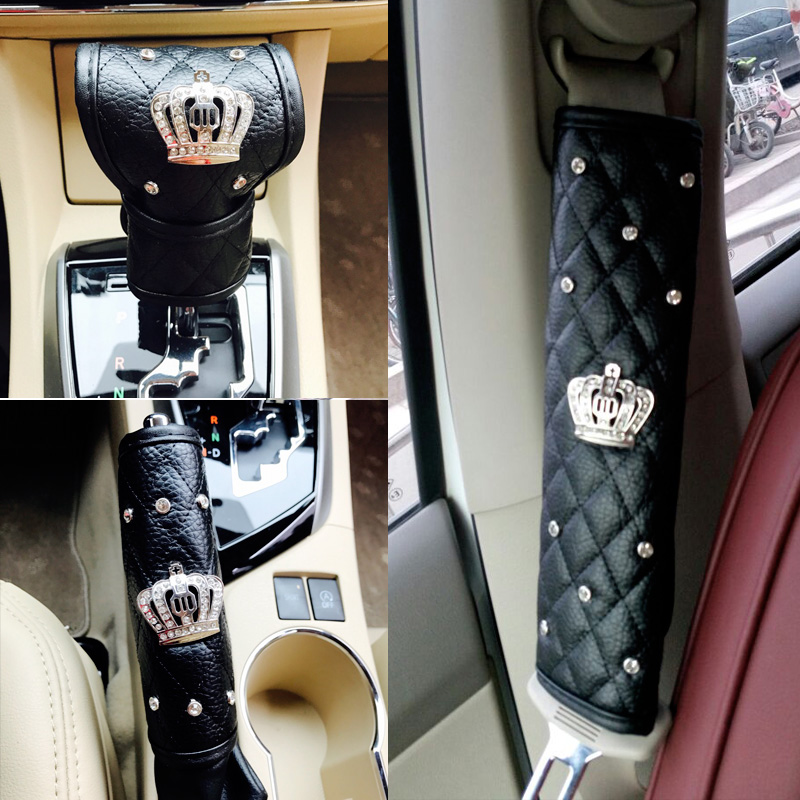 Luxury Diamond Auto Seat Belt Cover Hand Brake Gear Cover Car Seat Belt Shoulder Pad Car Styling Suit For All Car For Honda Lada