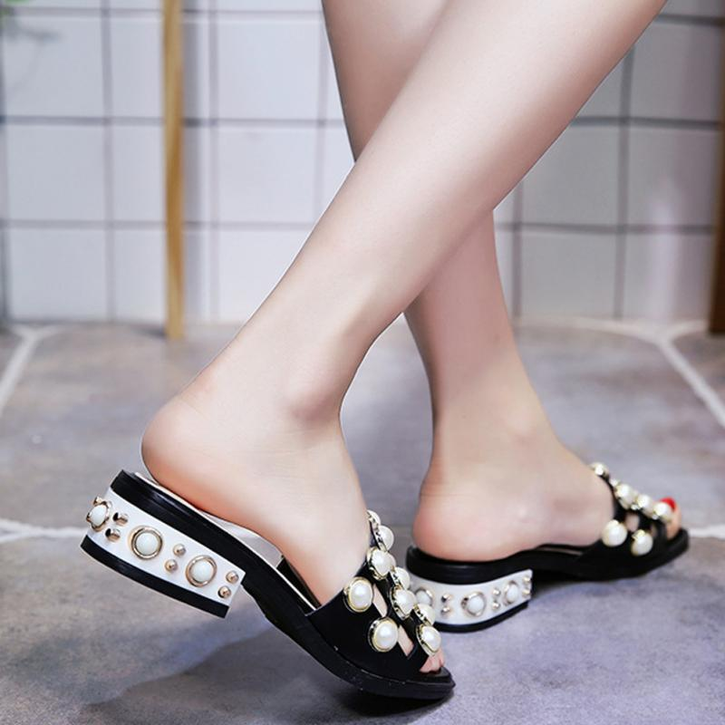 cef59be596 2018 Pearl Beaded Jelly Shoes Summer Chunky Heels kitten Heels Rivets women Sandals  Slipper Shoes-in Low Heels from Shoes on Aliexpress.com   Alibaba Group