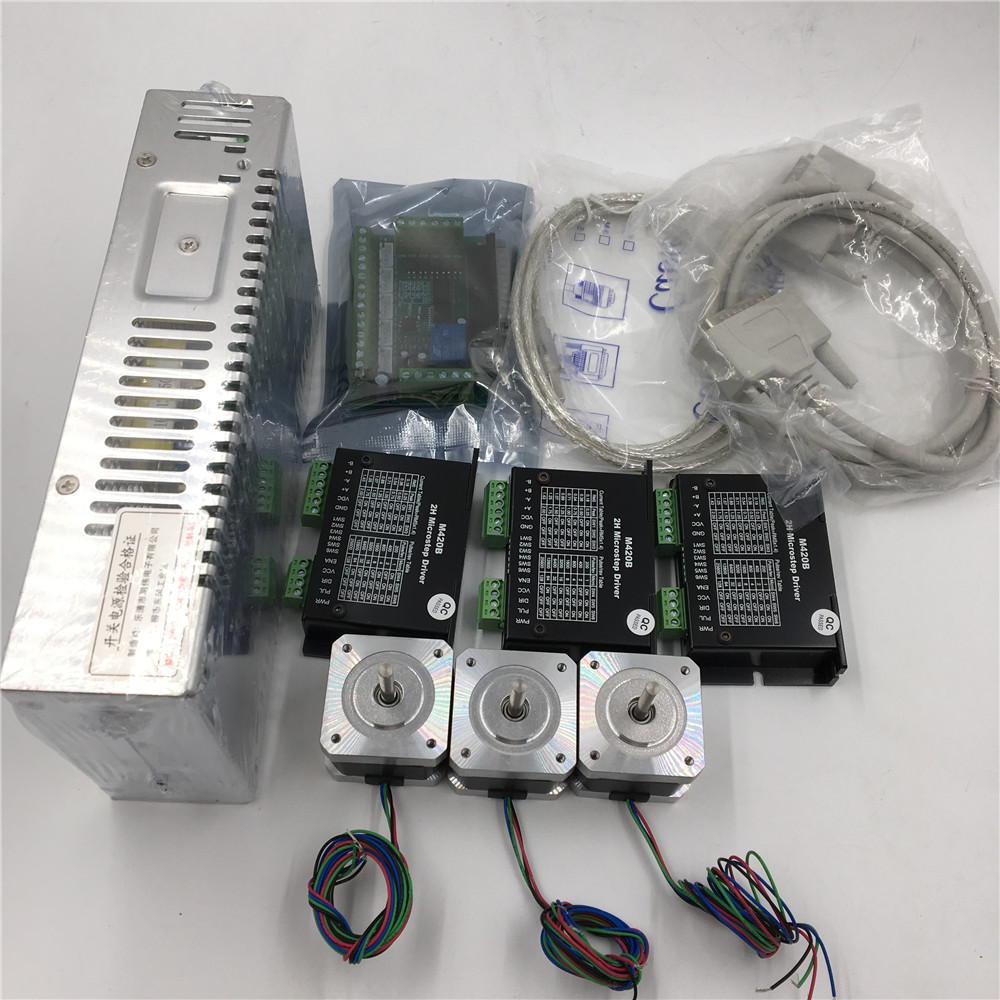 3Axis Stepper Motor Kit Nema17 L40mm 0.4Nm Stepper Motor Driver + Power Supply + 5Axis Breakout Board + Cable CNC Set intelligent cnc 4 axis tb6600 stepper motor driver board 5a adjustable dc 12 48v power supply sm578 sd
