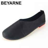 BEYARNE Genuine Leather Flat Shoes Woman Hand Sewn Leather Loafers Cowhide Flexible Spring Casual Shoes Women