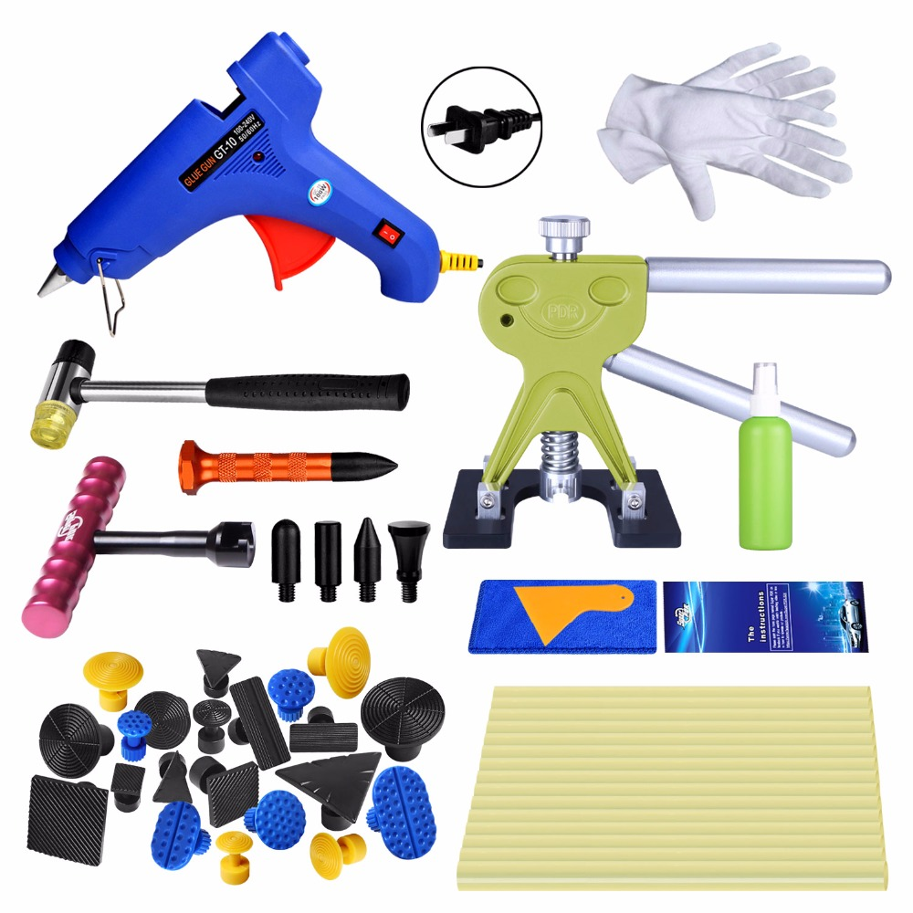 Super PDR High quality Paintless Car Dent Repair Tools glue Puller glue gun dent tabs Red T-bar dent removal Hand tools kit pdr tools to remove dents car dent repair paintelss dent removal puller kit lifter removal glue tabs fungi sucker hand tool set