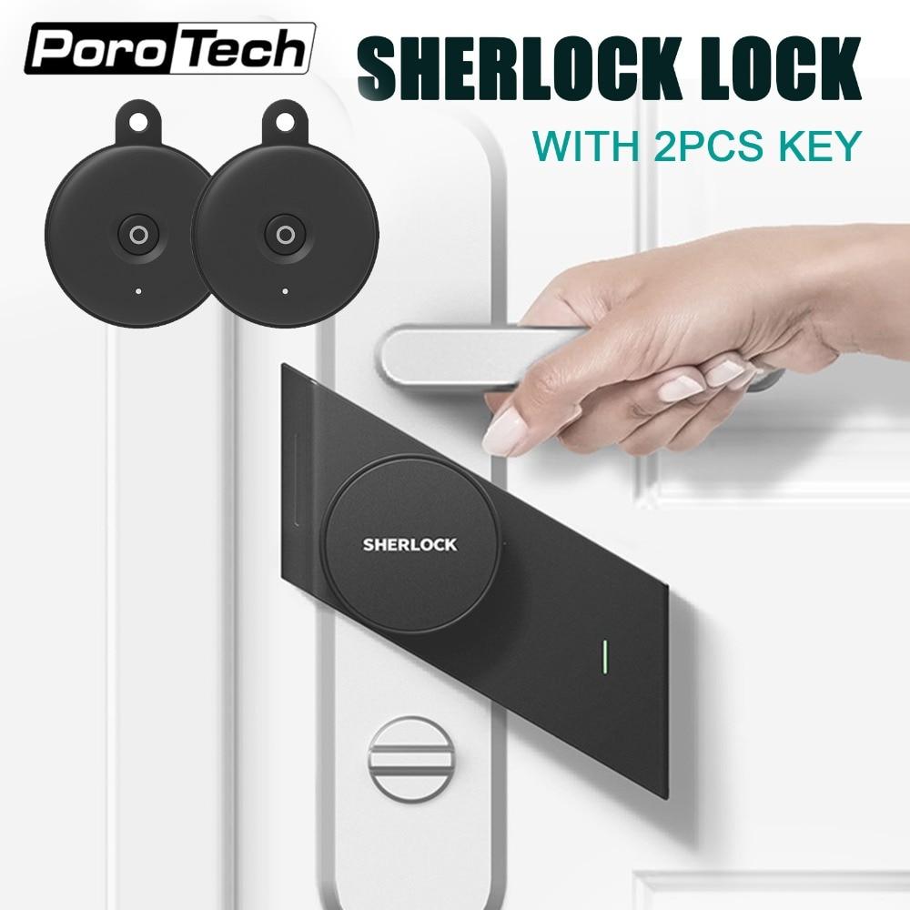 S2 sherlock serrure avec 2 unité Bluetooth clé en Stock, serrure sans clé, serrure de porte intelligente Bluetooth sans fil téléphone App contrôle