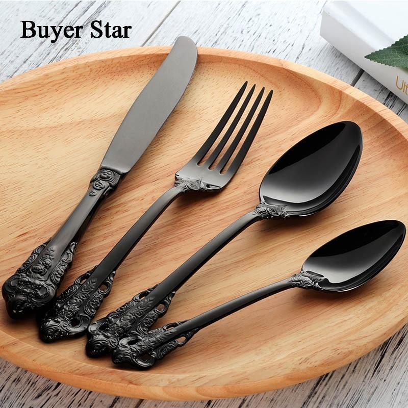 Buyer Star Flatware Set High Quality Household Cutlery Stainless Steel 18/10 Kitchen Dinnerware Rustless Knife Fork Spoon