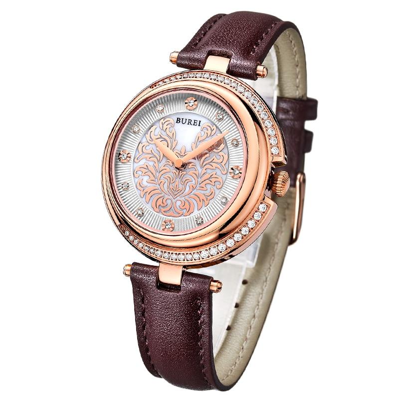 Буреи кварцевые часы Для женщин Роскошные Благородный жемчуг леди серии Австрии алмаз сапфир основа циферблат дам Relogio Feminino