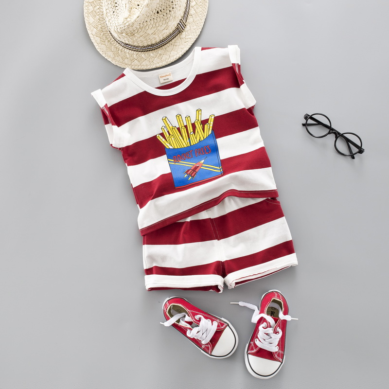 Baby Girl Boy Summer Striped Shirt Clothes Set Cute Cartoon Fries Kid Clothing Casual Boys Suit Clothes 1 2 3 4 YearsBaby Girl Boy Summer Striped Shirt Clothes Set Cute Cartoon Fries Kid Clothing Casual Boys Suit Clothes 1 2 3 4 Years