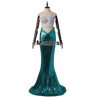 The Little Mermaid Princess Ariel Costume Sexy Party Dress Fancy Sequins Mermaid Tail Skirt Green Halloween