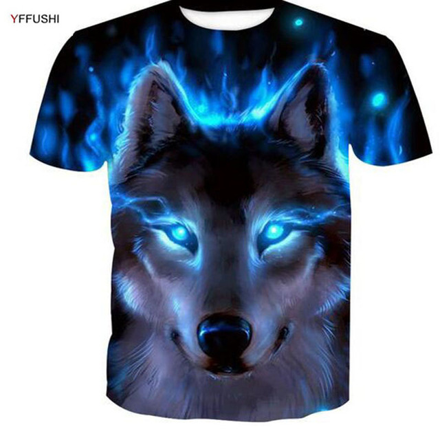05751e5b1bd2 YFFUSHI 2018 3d t-shirt Male Short Sleeve New Design Blue Wolf 3d Printing  Animal Tshirts Streetwear Hip Hop Men Plus Size 5XL